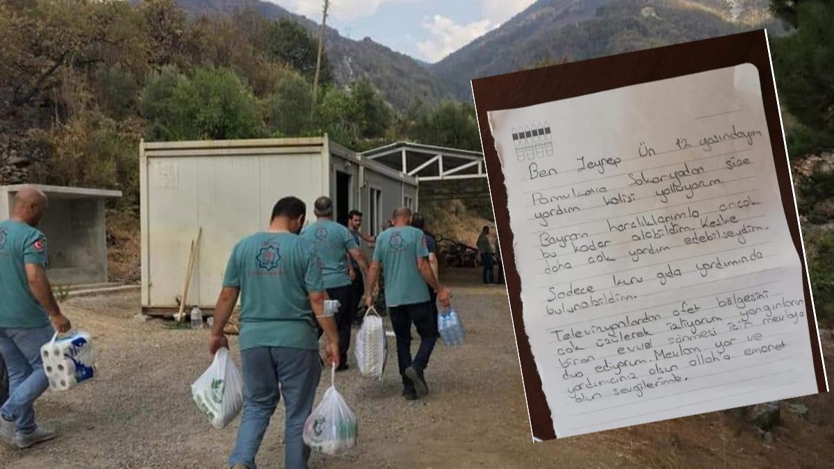 12 yaşındaki Zeynep'ten yangın bölgesine gıda kolisi