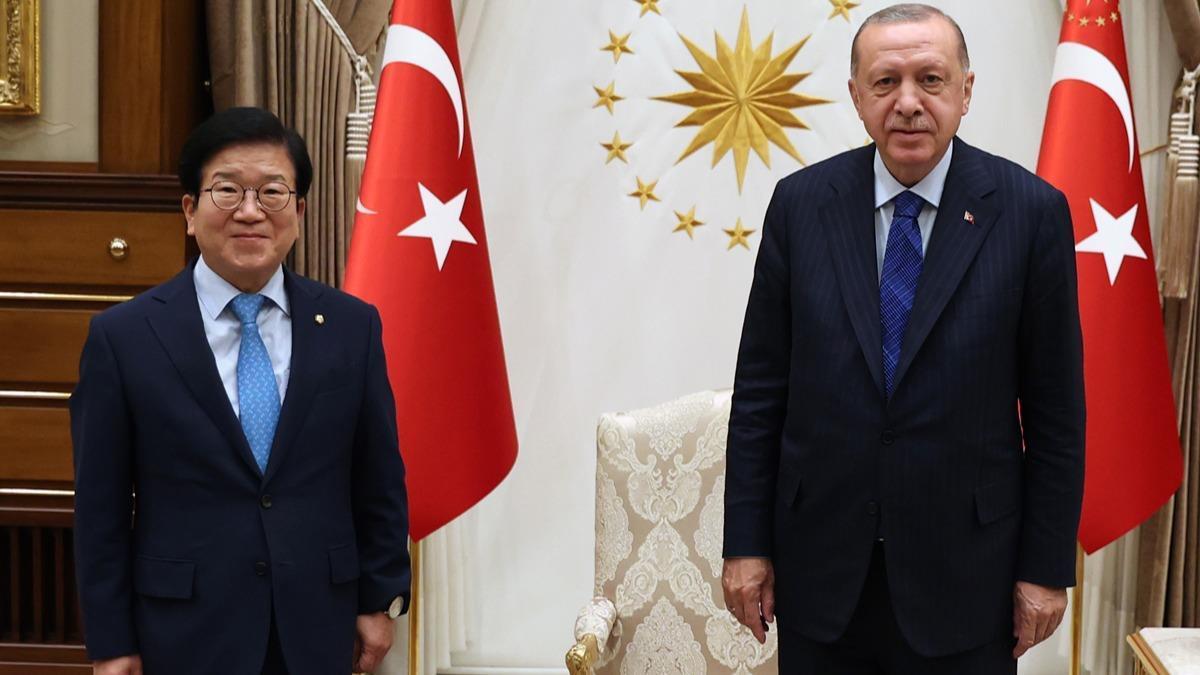 Cumhurbaşkanı Erdoğan, Güney Kore Meclis Başkanı Park Byeong-seug'u kabul etti